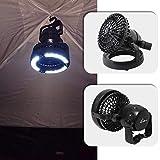 YGQersh 2 en 1 Lampe de Camping Portable Lampe Ventilateur Lampe de Poche en Plein air Tente de pêche de randonnée - Noir