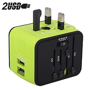Internationale Ladegeräte Milool Reiseadapter mit USB Port 4 in 1 für 150 länder Reisestecker Weltweit Universal Adapter(Grün)