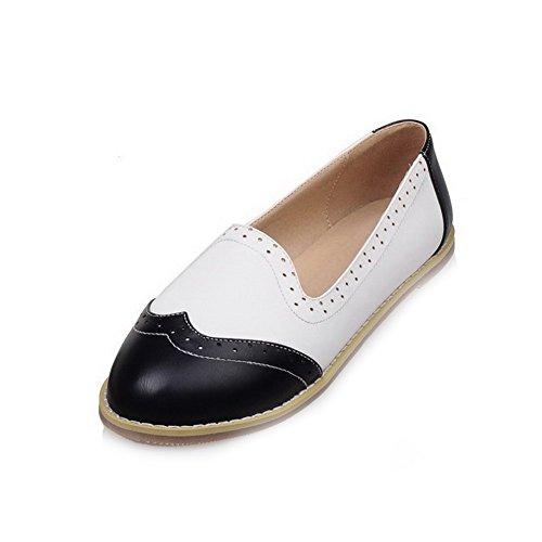 AllhqFashion Femme Tire Pu Cuir Rond Non Talon Couleurs Mélangées Chaussures à Plat Noir