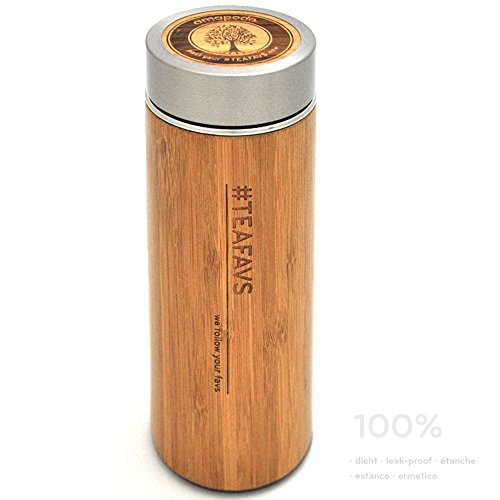 Preisvergleich Produktbild amapodo Thermobecher 500ml Isolierbecher aus Bambus mit Tee-Sieb und Deckel Edelstahl-Thermosflasche Isolierflasche Thermoskanne Teebereiter Tea Maker Bottle coffee to go doppelwandig Infuser BPA-frei