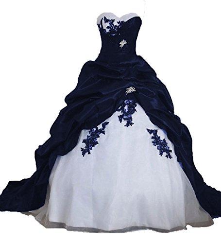 O.D.W Frauen Lange Formales Gotisch Brautkleider Spitzenkleid Vintage Hochzeitskleider(Navy...
