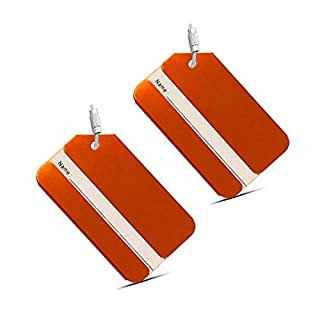Alohha Holiday Aluminium Metal Travel Suitcase Luggage Baggage Identifier Tags Bag Name Address Holder ID Label with Screw Chain 2 Pack (Orange001)
