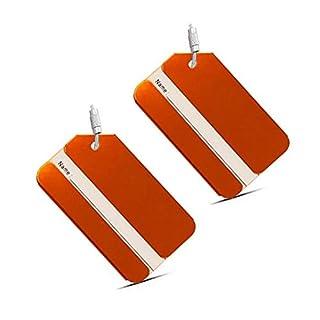 Alohha Reisegepäck Gepäckanhänger aus Aluminium mit Schraubkette, 2 Stück Orange001