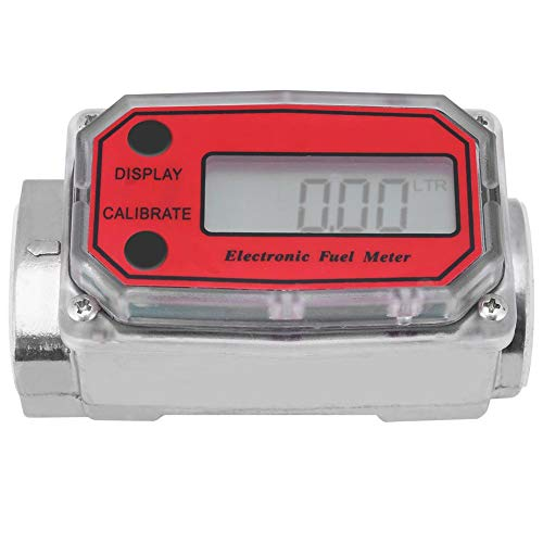 Elektronische Turbine Durchflussmesser, Kraftstoff-Durchflussmesser für Diesel Benzin Kerosin, mit Digital-LCD-Display, 1-Zoll-FNPT-Einlass/Auslass (Rot LLW-25) - Elektronische Durchflussmesser