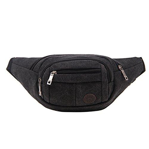 ZYT Reißverschluss-Taschen Sport Herren retro Leinwand Tuch Paket für Männer und Frauen Handy Tasche Black