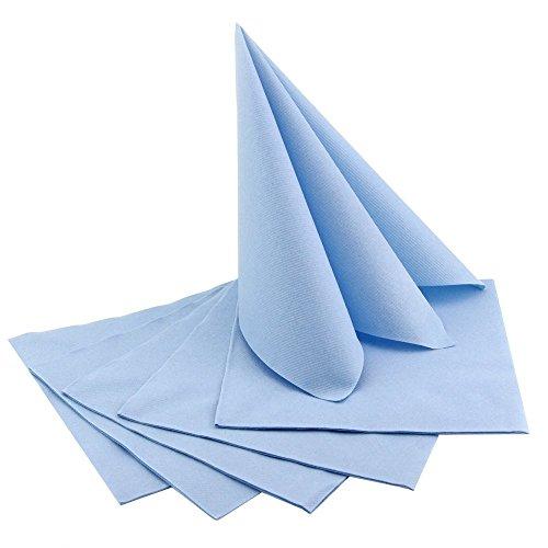 100 Stück (0,33€/Stück) Servietten HELLBLAU stoffähnlich 40 x 40 cm zum Falten Hochzeit Hochzeitsservietten Geburtstag Taufe Junge Kommunion Blau Tischdeko Dekoration Textil Alternative
