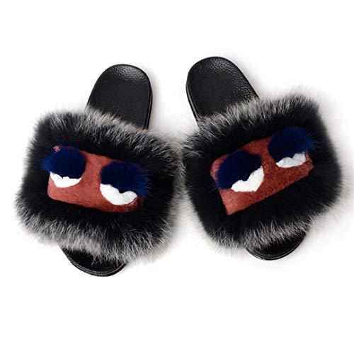 HULIMAOSER Women Monster Slippers Fluffy Furry Sandals Plush Soft Flat Home Flip Flops Shoes B 6 -
