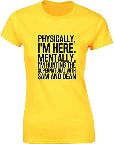 Hunting the Supernatural with Sam and Dean, Mesdames T-shirt imprimé - Daisy jaune/Noir 2XL = 98-102cm