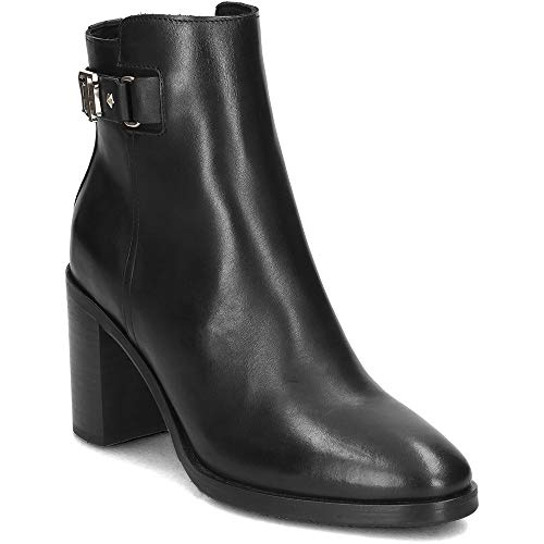 Tommy Hilfiger Womens TH Buckle Heeled Boot Leather Schwarz Low Boots 39