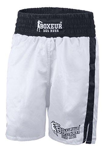 Boxeur des rues - Pantalón Corto de Boxeo Modelo clásico Fight Activewear, Hombre, Fight Activewear, Blanco, Large