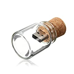 Idea Regalo - Chiavetta USB 16GB Pendrive Vaso 2.0 Pennetta USB Trasparente Drift Bottle Chiave USB Carina 16 GB Penna USB Kepmem Divertenti Sughero Bicchiere USB Stick, Regalo di Compleanno