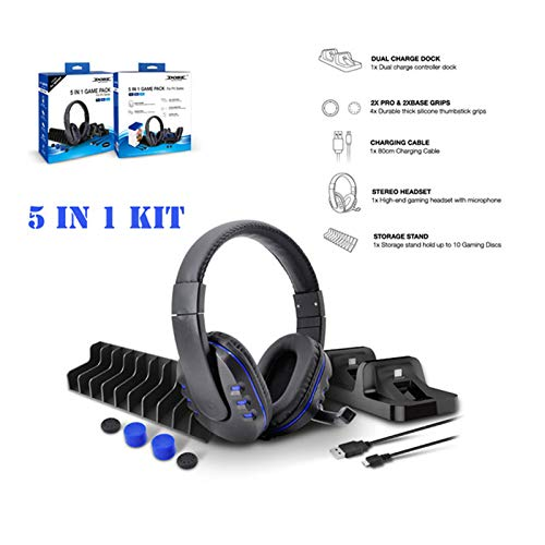 Aoile 5-in-1-Gamepack Ladestation Dock Mikrofon Gaming Headset Spiele Stroage Ständer für PS4 / PS4 Pro / PS4 Slim