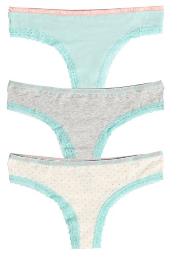 Tokyo Laundry Womens Hetty 3 Pack Briefs Ladies High Leg Lace Trimmed Knickers