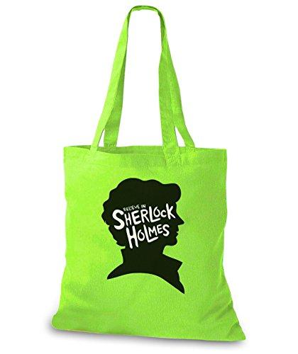 StyloBags Jutebeutel / Tasche I believe in Sherlock Holmes Lime