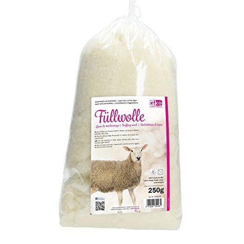 efco Füllung Super Weich und federleicht Tasche, Wolle, Natur hell, 250g -