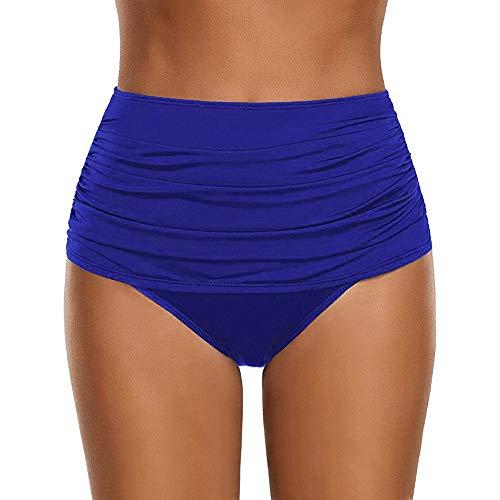JMETRIC Damen Strand Beiläufige Badebekleidungs Hosen Einfarbig Gefaltete Badeshorts Badebekleidung Bademode(Blau,XL) Tropical Crop Hose