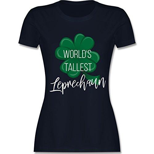 Shirtracer St. Patricks Day - Worlds Tallest Leprechaun - Damen T-Shirt Rundhals Navy Blau
