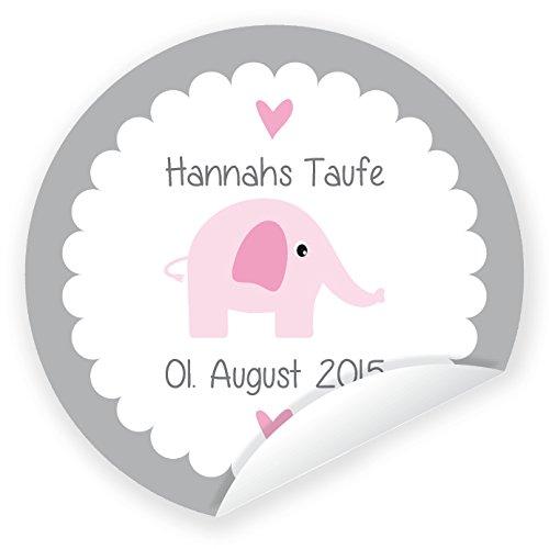 Aufkleber 'Elefant' 24 Stück (4 cm) personalisiert Taufe Geburt Junge Mädchen