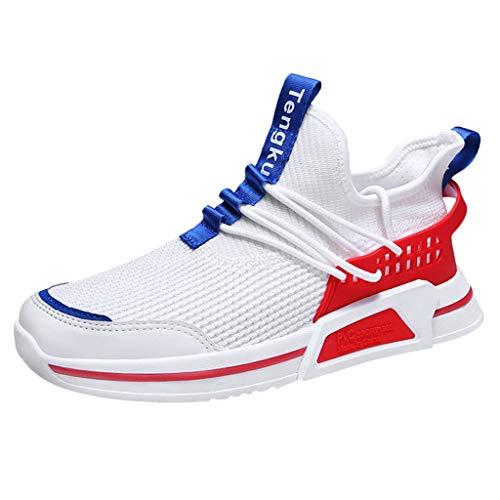 CUTUDE Herren Freizeit Turnschuhe Ultraleicht Sneakers Bequeme Laufschuhe Mesh Straßenlaufschuhe Atmungsaktiv Knit Schnüren Sommerschuhe Sportschuhe für Männer Joggingschuhe 39-44 (Rot, 39 EU) - Ferrari Suede Sneakers