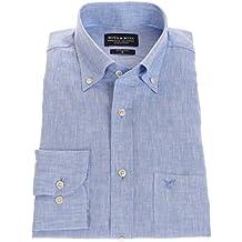 Bots & Bots 186005 Camisa para Hombre - 100% Lino - Button Down - Normal Fit