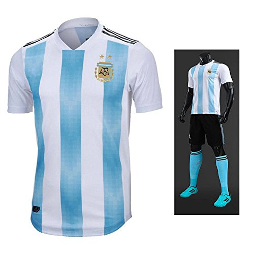 TOOGOO Familie Breathable Sportbekleidung Fussball Set World Cup Argentinien Fussball Trikots Uniformen Fussball Kit Shirt Trainingsanzug(Mann,L)