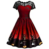 MIRRAY Damen Halloween Kleid Retro Lace Vintage Eine Linie Kürbis Swing Bbendkleider Cocktailkleid Rot S-3XL