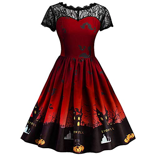 Party Kostüm Girl 80's - MIRRAY Damen Halloween Retro Lace Vintage Kleid eine Linie Kürbis Schaukel Kleid ...
