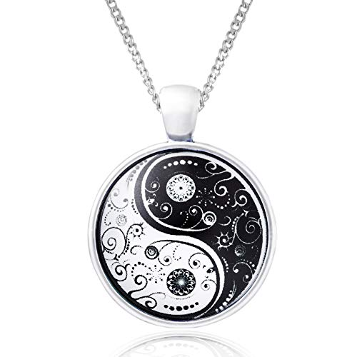 Klimisy - Yin Yang Halskette mit Armband - Buy one & Plant one Tree - Hochwertige Halskette mit Yoga-Medaillon - Eco & Fair (Halskette)