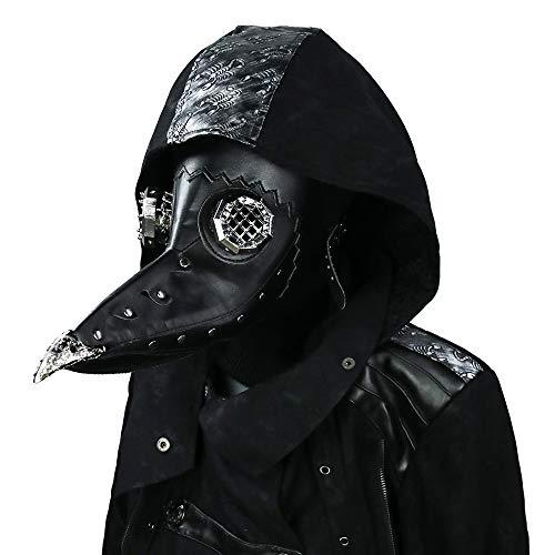 Punk Mode Herren & Damen Vogel Stil Gothic Kostüm Maske, Steampunk Mittelalter PU Leder Felsen Unterhaltung Staubdicht Winddicht Maske,Halloween Cospaly Masken (Schwarz)