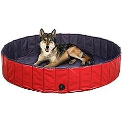"""Femor Bañera Baño de Mascota Perros Gatos Animales Paddling Piscina de Baño Ducha de Baño Plegable Portátil Puppy Color Rojo+ Negro (L/160 × 160 x 30cm / 63""""D x 12""""H)"""