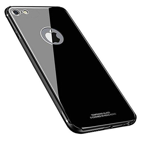 Kepuch Quartz iPhone 6 6S Hülle - TPU + Gehärtetes Glas Rückseite für iPhone 6 6S - Schwarz