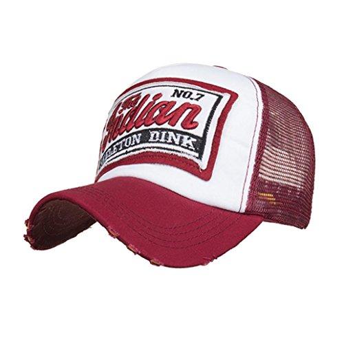 Fuibo Kappe für Herren und Damen, Gestickte Sommer-Kappe Mesh-Hüte für Männer-Frauen-zufällige Hüte Hip Hop-Baseballmützen| Basecap, Baseball Cap, verstellbar (Wine)