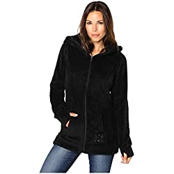 Sublevel Abrigo de Mujer de Tela Peluche | Abrigo Largo de Forro Polar con Cuello Alto negro1 M