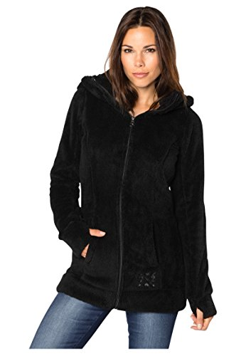 Sublevel Damen Teddy-Fleece Mantel | Kuscheliger Langer Fleecemantel mit hohem Kragen black1 M