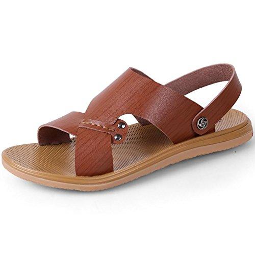 SHANGXIAN Pigro guida suola sandalo uomo piatto (due generi di tees) Dark Brown
