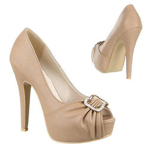 Ital-Design , Escarpins peep-toe femme Marron - Sable