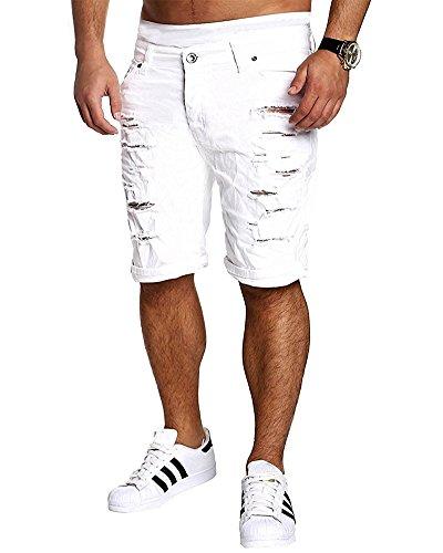 Tomsent minetom 2017 elasticizzati da uomo strappati jeans spiaggia pantaloni corti bermuda pantaloncini sguardo distrutto patchato stile men pants bianco eu l
