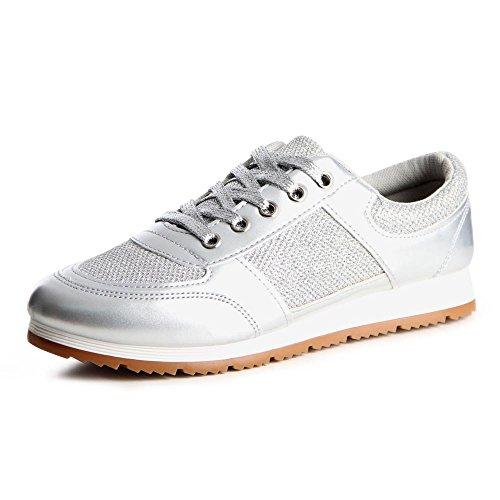 Topschuhe24 765 Mulheres Sneaker Sneakers Prata