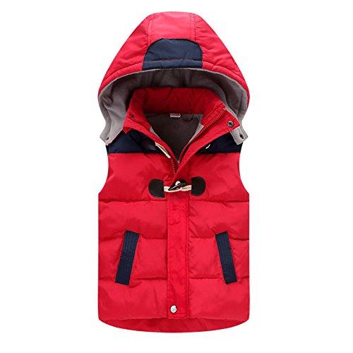CYSTYLE Baumwollweste ultraleichte Winterjacke mit Vlies Weste Jungen Maedchen Aermellos mit Kapuze (110/Körpergröße 98-104cm, Rot)
