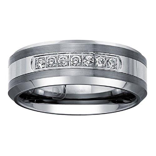 Ax Jewelry  -  Sonstige  Wolframcarbid Rundschliff   Leicht Getöntes Weiß/Top Crystal (I) Weißer Diamant (Mens Wedding Bands Hartmetall-8mm)