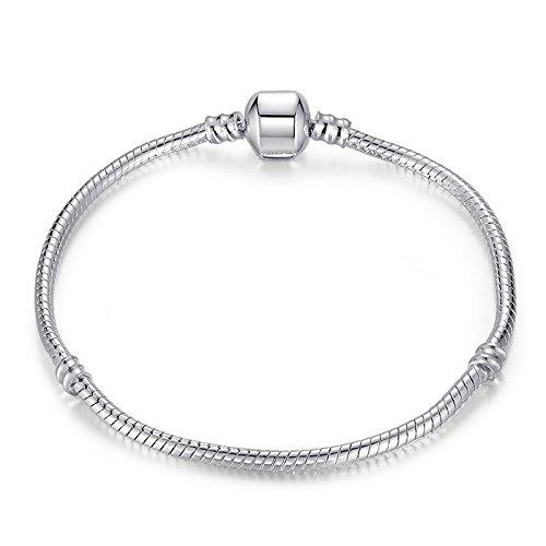 RKC Jewelz 22cm Silver Plated Pandora style Snake chain CHARM BRACELETS For Women Girls