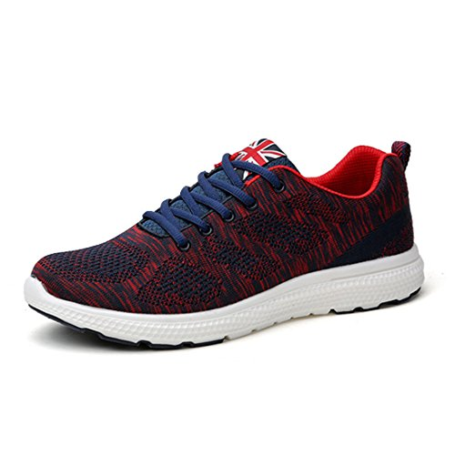 Men's Lightweight Breathable Trainers Shoes hong se
