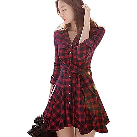 Hrph Vestido de la manera del otoño del resorte de las mujeres retro de manga larga roja de la tela escocesa de la solapa con cinturón mini vestidos