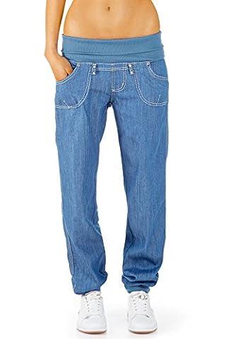 Bestyledberlin Damen Jeans Hose Baggy Boyfriend Hüftjeans Stretch Bund, Style Pluderhose j85h2 36/S