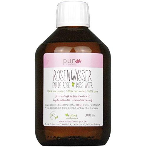 300 ml Echtes Rosenwasser Bio in Medizinflasche aus Glas 100% naturreines Rosen-Hydrolat (Gesichtswasser Rose)