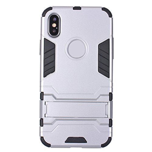 iPhone X Case Armor, iPhone 10 Hülle Armor mit Stand, iPhone X Hard Case, Moon mood® Reifen Striped Handy Fall 2 in 1 Hybrid Armor Schutzhülle für Apple iPhone X / iPhone 10 5.8 Zoll Hart PC + Weich T A Silber