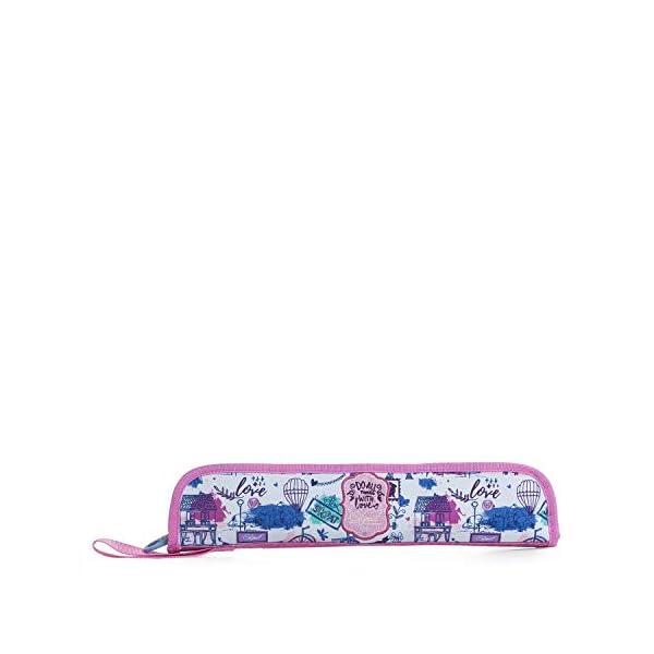 SKPAT – Estuche Portaflautas Estampado Acolchado para Niña. con Asa y Cierre Cremallera. Poliéster. Diseño Exclusivo. Práctico Cómodo y de Calidad. 53603, Color Rosa
