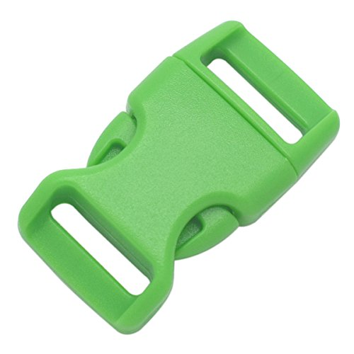 Pack of 15 quick release plastic buckles for parachute wristbands and pet collar of 15 mm (5 / 8 inches) for green backpack strap / webbing