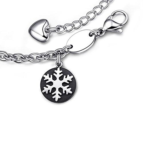 Ashley gioielli da donna in acciaio INOX 316L-Bracciale con ciondolo a forma di fiocco di neve