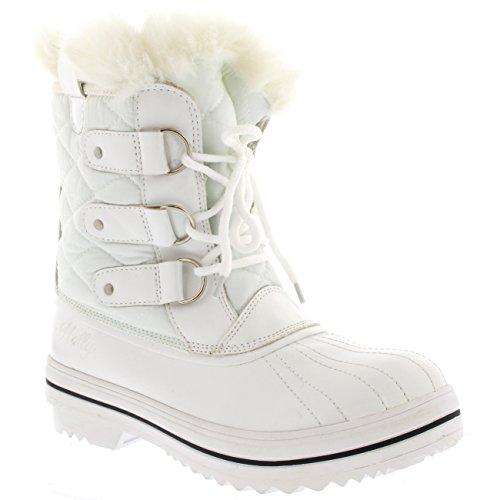 Damen Schnee Stiefel Nylon Short Schnee Pelz Regen Wasserdicht Stiefel - Weiß - 42 - CD0031
